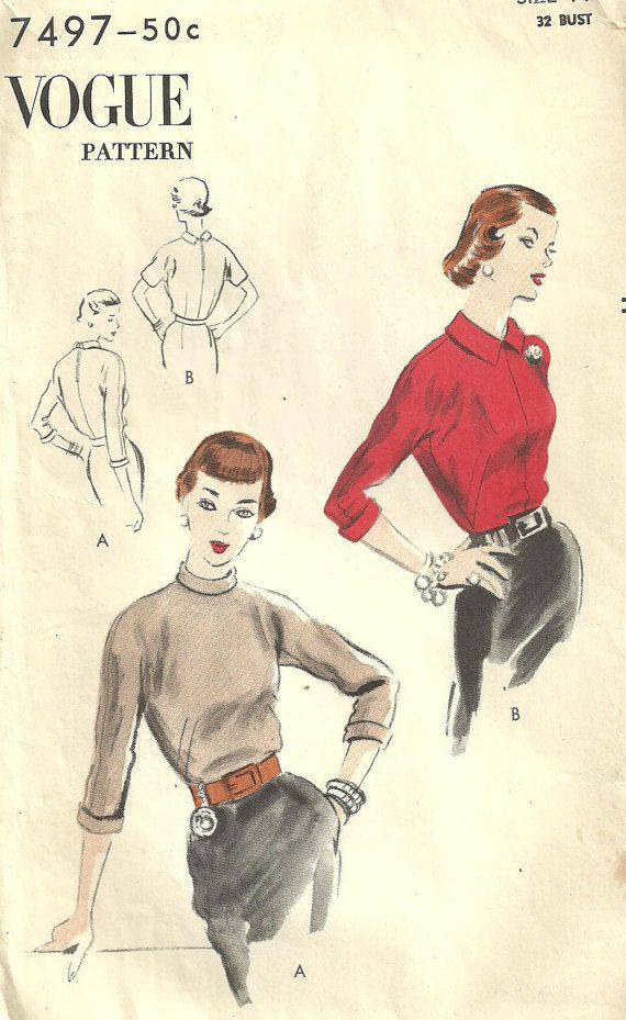 Vogue 7497 - This vintage sewing pattern was designed in 1951. It makes a blouse with a turtle neck or shaped collar and kimono sleeves.