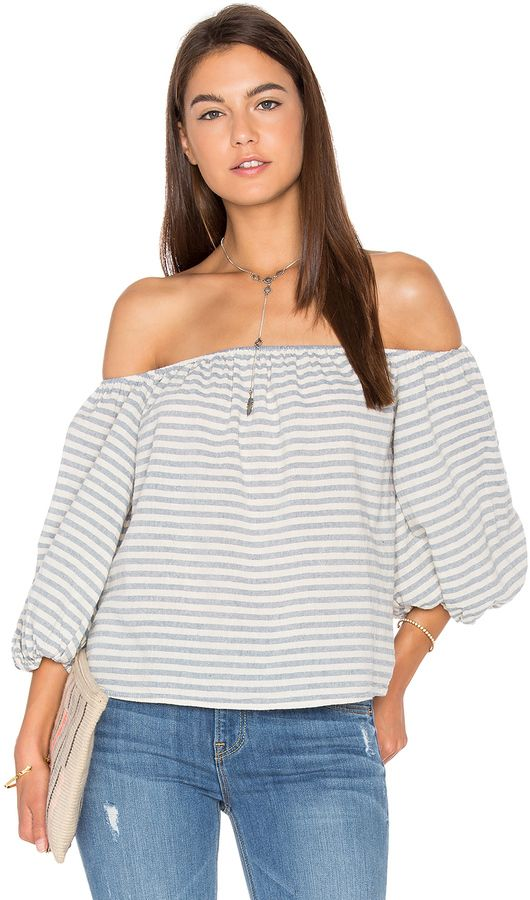 9b9f8650ec708d Love this striped off the shoulder top with flowy sleeves. SAM LAVI  Florence Top