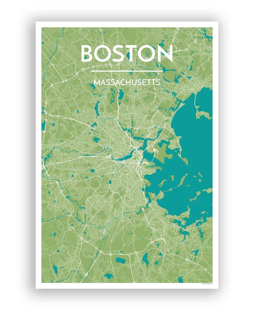 Boston City Map Work Projects Boston Map Map Art City Maps - Boston-on-map-of-us