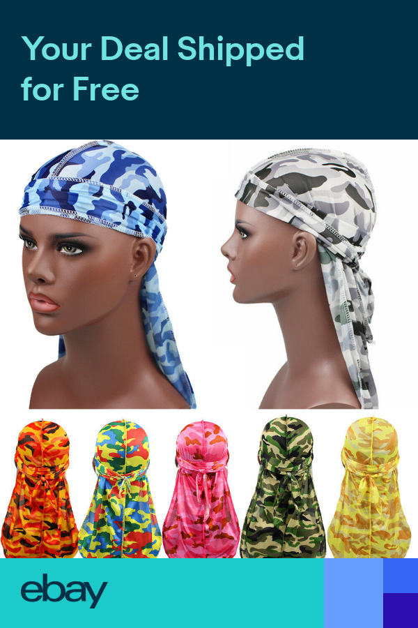 Men Women Fashion Silk Durags Bandana Turban Hat Headwear