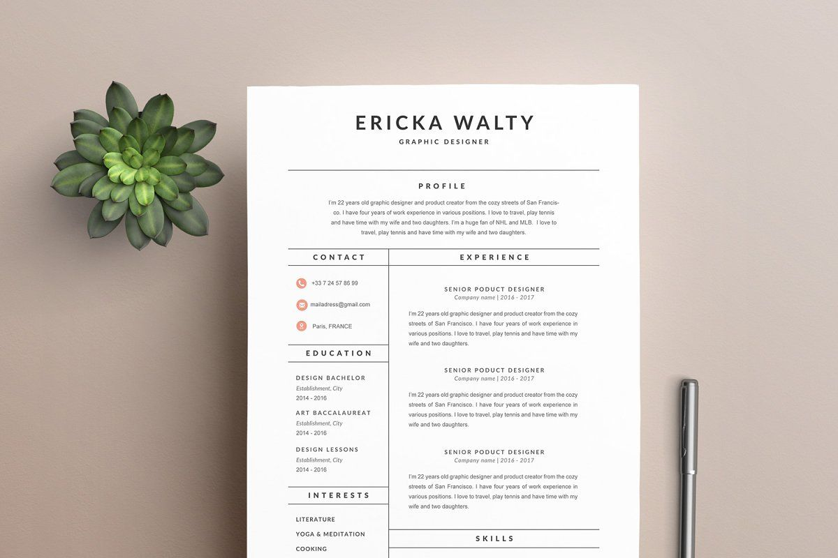 "Resume Template ""EMMA"" A4 in 2020 Modern resume template"