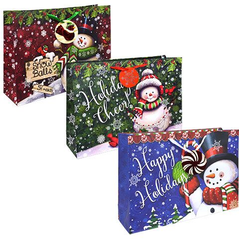 extralarge traditional snowman gift bags