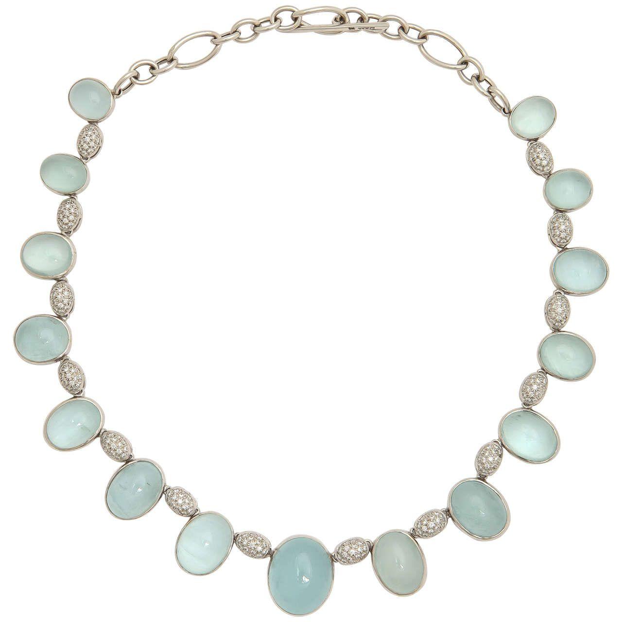 Faraone Mennella Letitia Aquamarine Diamond Gold Drop Necklace For Sale at 1stdibs