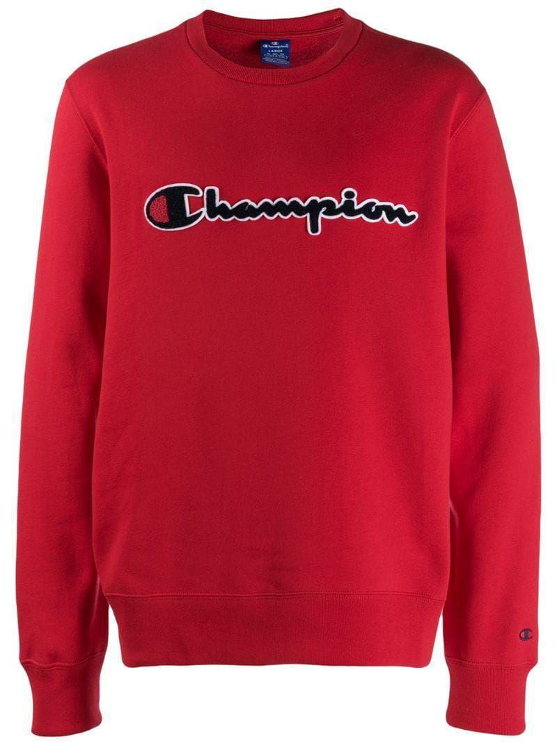 Champion Stitched Logo Sweatshirt In Red Modesens Sweatshirts Champion Clothing Red Champion Sweatshirt [ 1067 x 800 Pixel ]