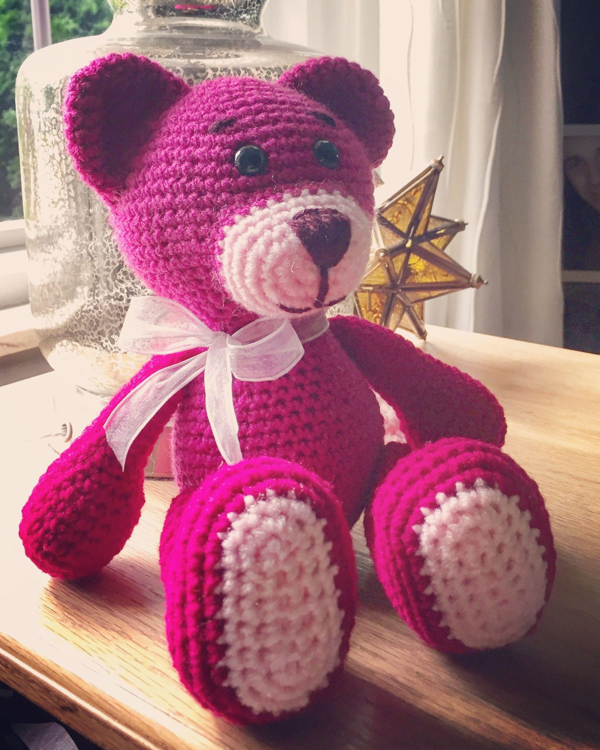 Hot pink teddy bear crocheted crochet plushy toy plush