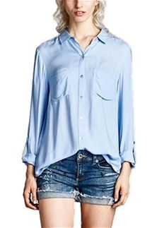 aaf9992a44 Staccato Button Down Shirt for Women in Light Blue | Fall/Winter ...