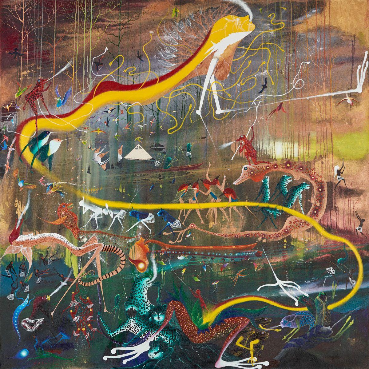 Los primeros humanos conquistan a la mujer Arco Iris, la acomodan para que el cielo no caiga a la tierra (Marco Pando)