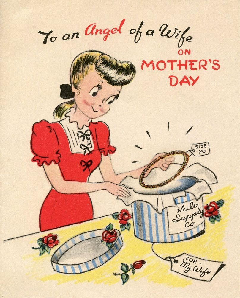 Antique vintage inspired mothers day card for wife