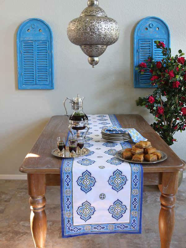 Moroccan Theme Style White Quatrefoil Table Runner Use Our Blue And To Set The Mood Or Add A Touch Of Elegance Your