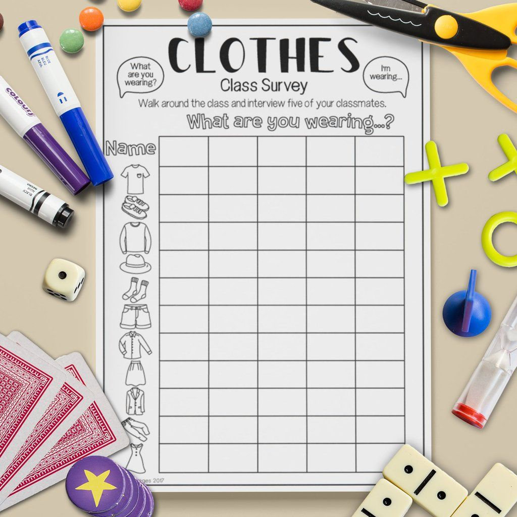 Clothes Class Survey Speaking Activities Esl Activities Learning English For Kids