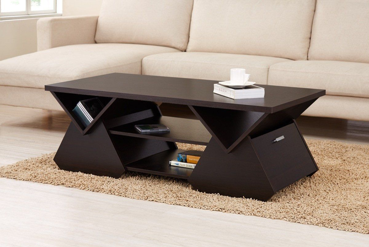 Furniture Of America Oreliis Modern Triangle Shelf Coffee Table Espresso Coffee Table Modern Glass Coffee Table Center Table Living Room [ 802 x 1200 Pixel ]
