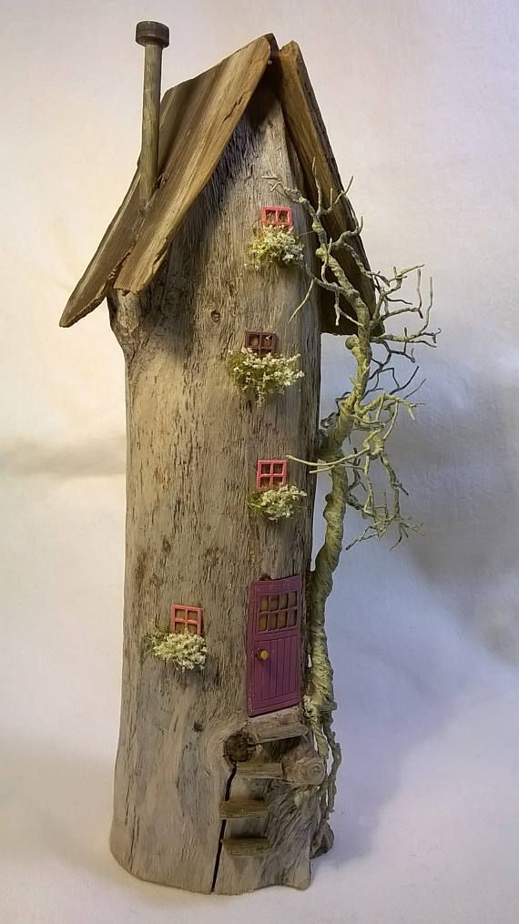 Driftwood house art miniature fairy house