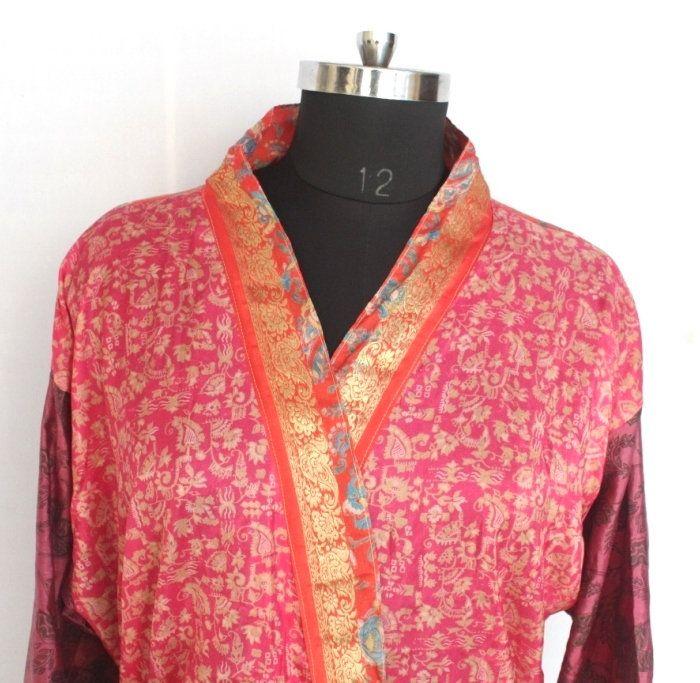 Indian Vintage Sari Kimono Art Silk Robe Recycled Used Fabric Sari Dress Patchwork Robe Sleepwear Bridal Kimono Dress Oriental Robe #TMK150 #saridress