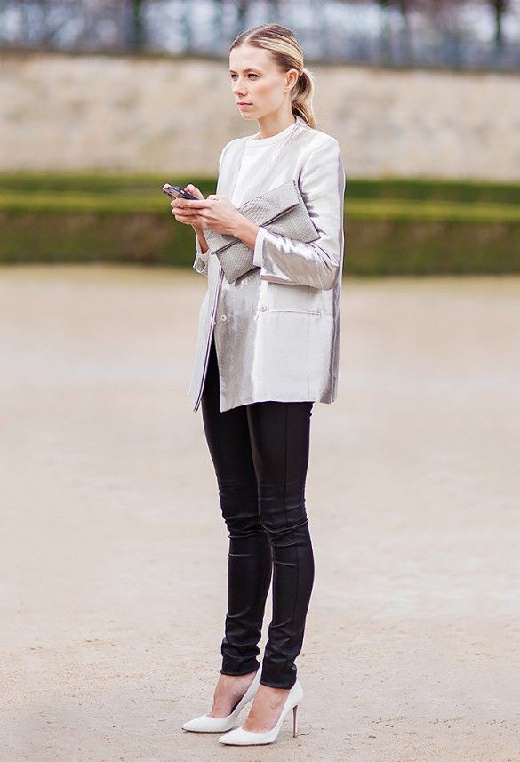 Pair a metallic blazer with waxed jeans and sleek white pumps. For an extra futuristic finish, slick back your hair into a ponytail. // #Fashion