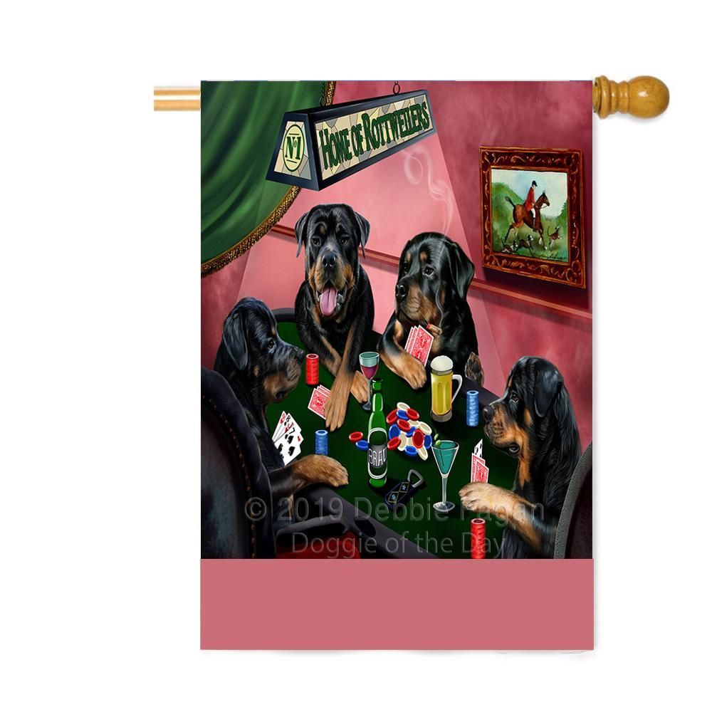 Personalized Home Of Rottweiler Dogs Four Dogs Playing Poker Custom House Flag Flg Dotd A60347 Rottweiler Dog Yorkshire Terrier Puppies Dogs Playing Poker