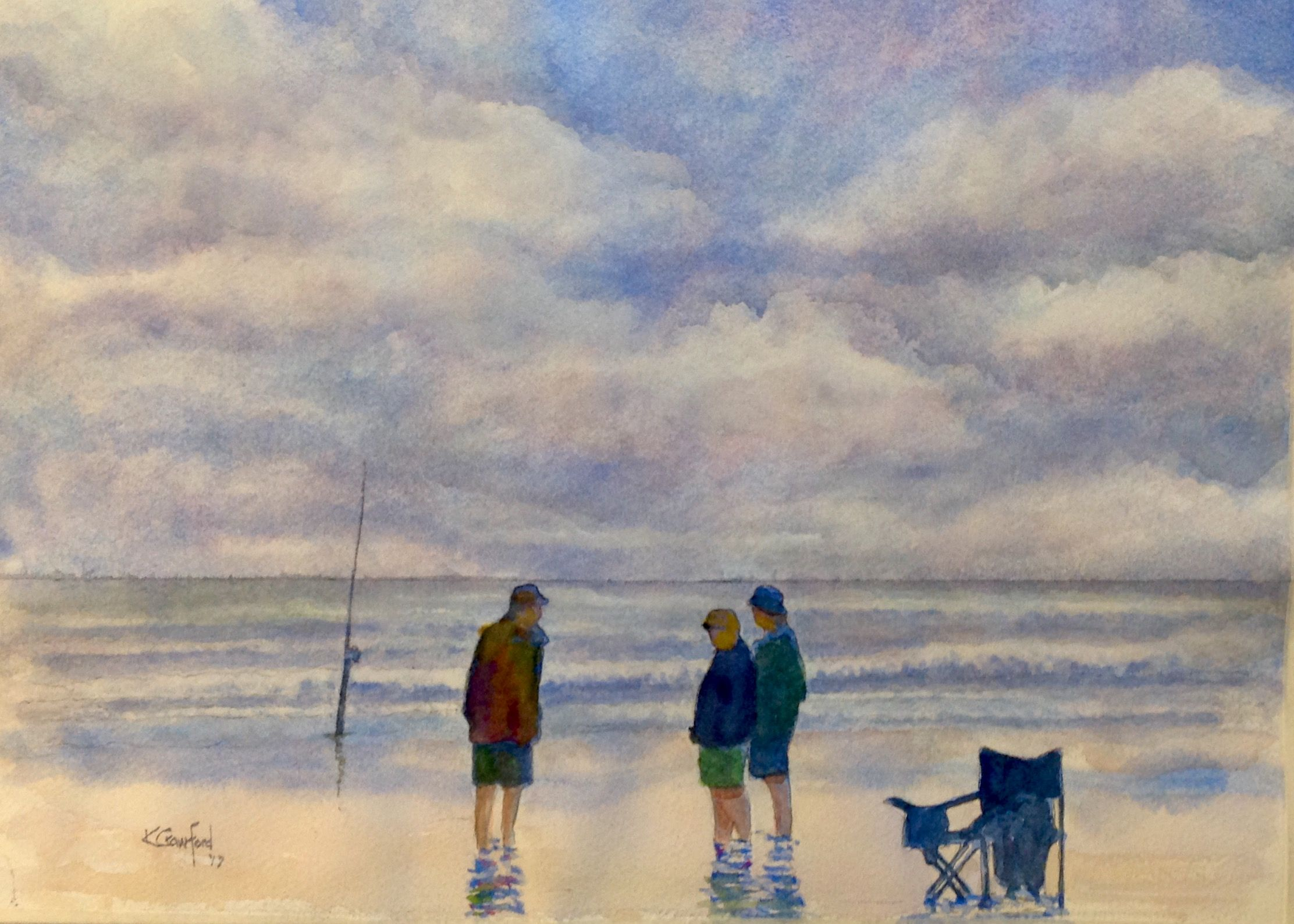 Fishing New Smyrna Beach Watercolour Painting By Ken Crawford