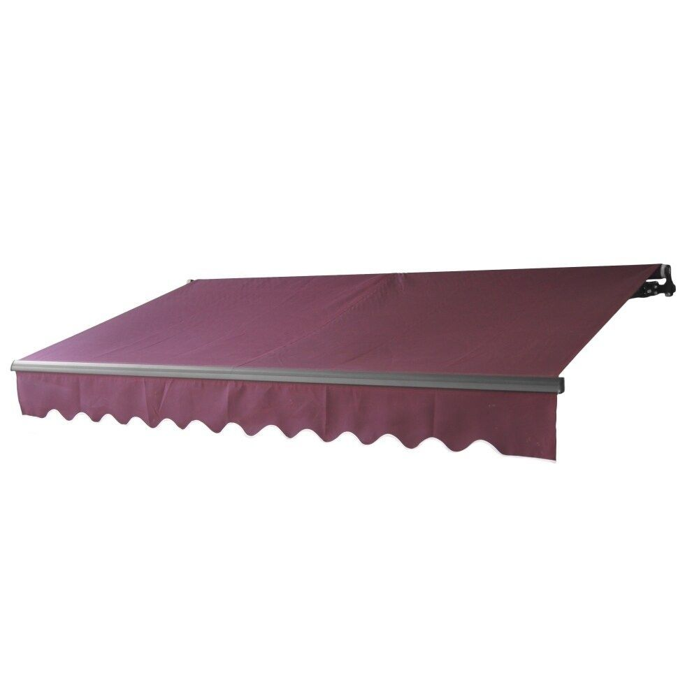 Aleko Black Frame Motorized Retractable Home Patio Canopy Awning 12 X10 Burgundy Red Polyester In 2020 Patio Canopy Patio Awning Gazebo Pergola