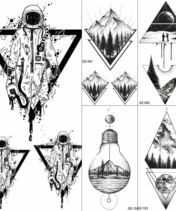 FANRUI Black Triangle Tattoos Temporary Women Geometric Arm Astronaut Art Tattoo Stickers Planet Water Transfer Tatto Space Man