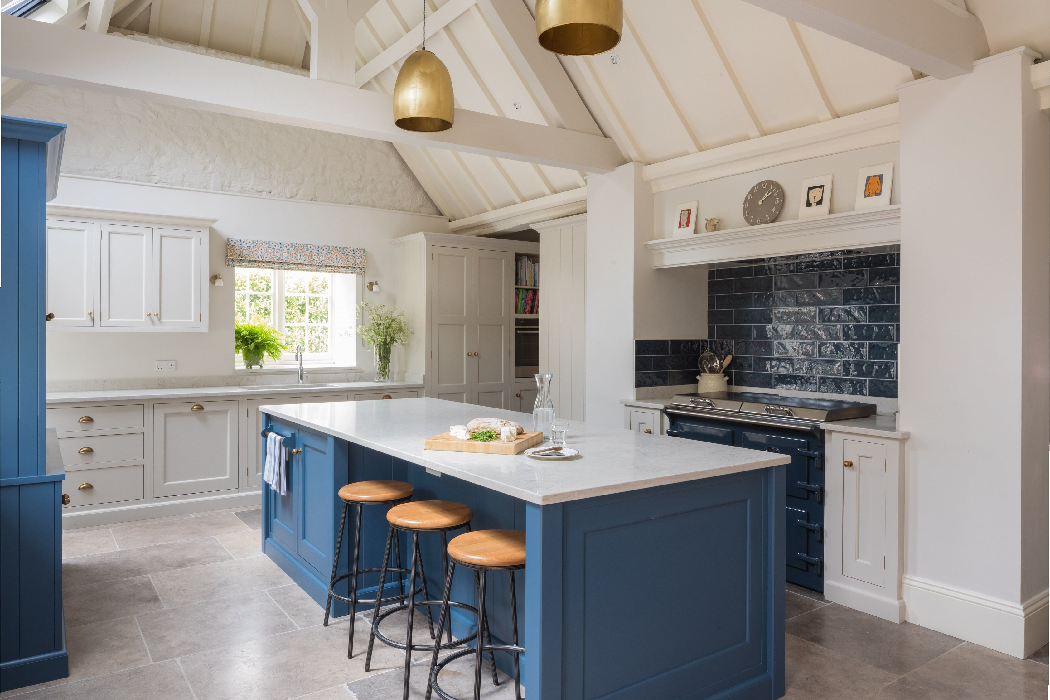 Little Greene Slaked Lime Mid Walls Cabinets In Lg Deep Are Complimented By The Contrasting Bold Hicks Blue Island And Marry Bea Kitchen Color Kitchen Colors