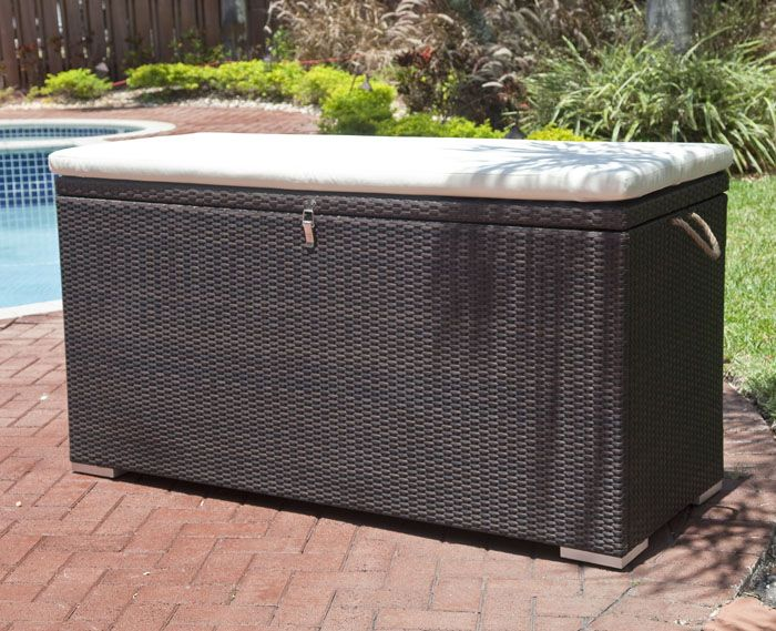 Modern Patio Furniture With Black Large Wicker Cushion Storage Box White Rectangular Top And Red Brick Tiles Style