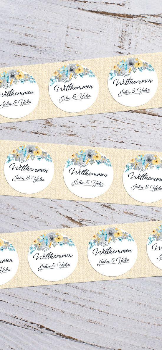 """runde Etiketten mit Blüten zur Hochzeit """"John & Yoko"""