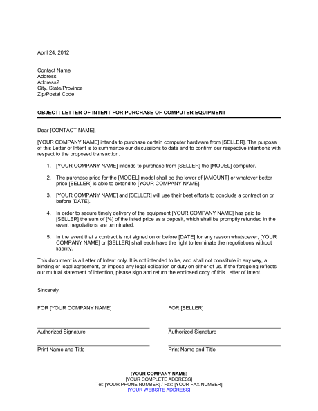 Letter Of Intent For Purchase Of Computer Equipment  Template