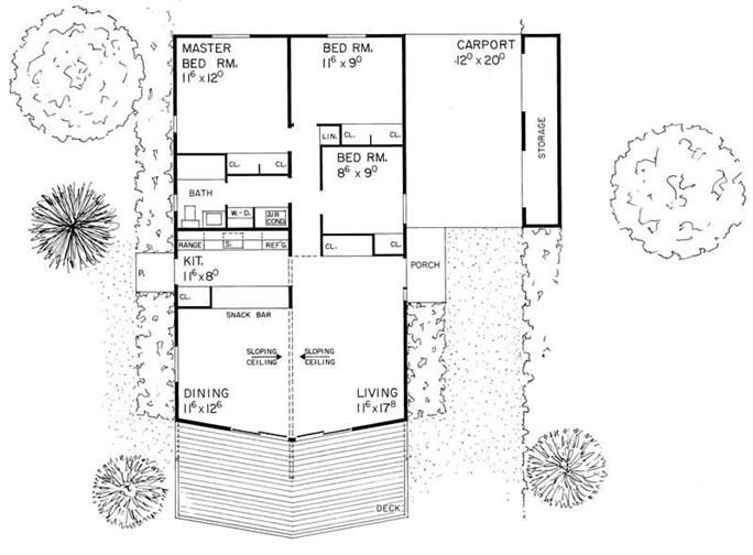 Floor Plan First Story of Contemporary Plan 137 1800