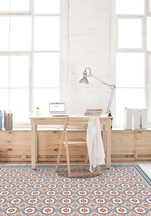 Vinyl Floor Mat With Decorative Tiles Pattern In Blue Spanish