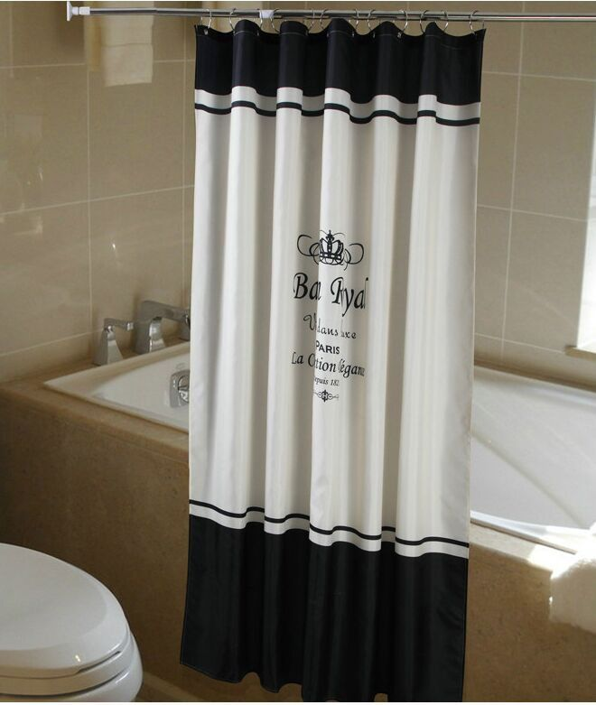 Shower Curtain Fabric Paris French Classic Black White 180x200 cm ...