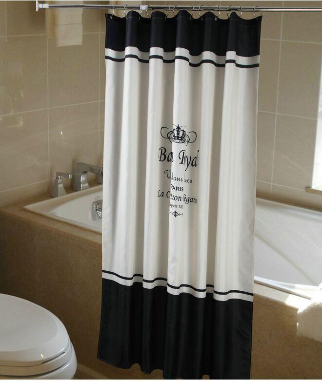 Shower Curtain Fabric Paris French Classic Black White 180x200 cm ...