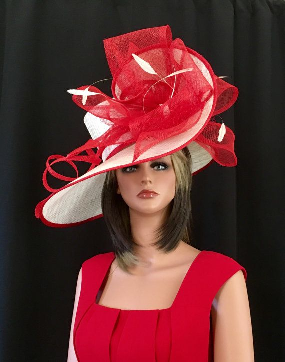 78cd130cc3c 2017 collection. Kentucky Derby red hat ivory hat Red. The ETSY millener  pleases her customers who like it big.