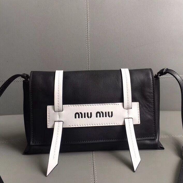 Miu Miu Small Grace Lux Leather Shoulder Bag 5BD075 Black White 2018 ... 5a487eff74