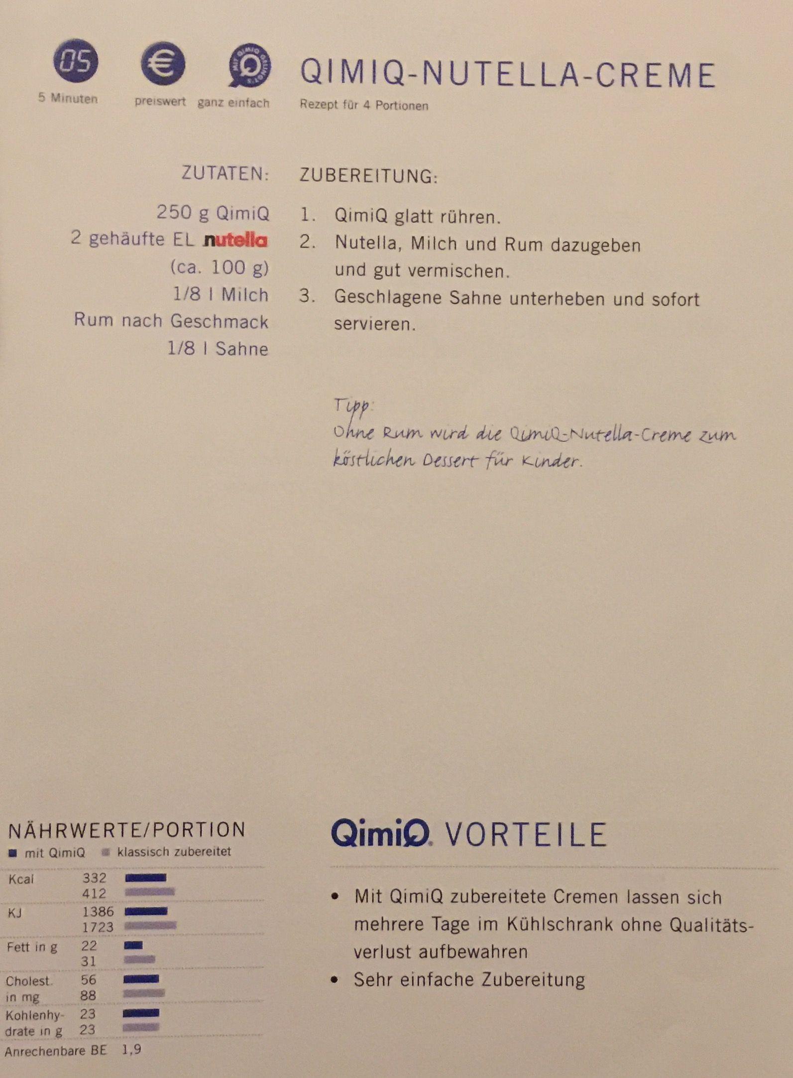 QimiQ-Nutella-Creme   25. Essen-QimiQ-Rezepte   Pinterest   Nutella