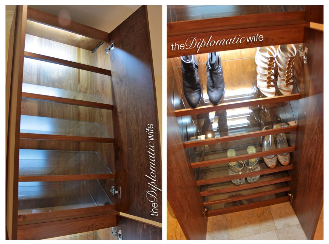 shoe cabinet with overhead lights and glass