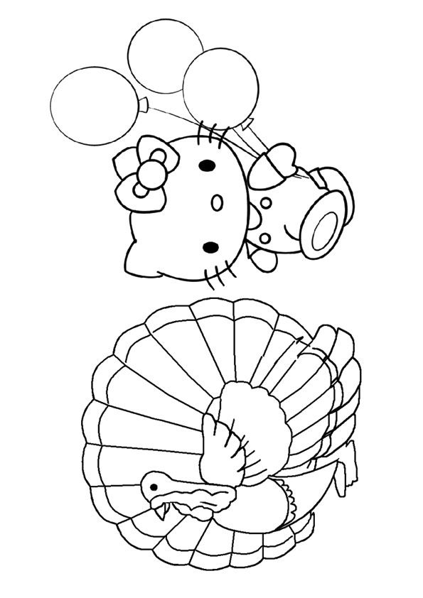 The Kitty With Turkey To Color Hello Kitty Coloring