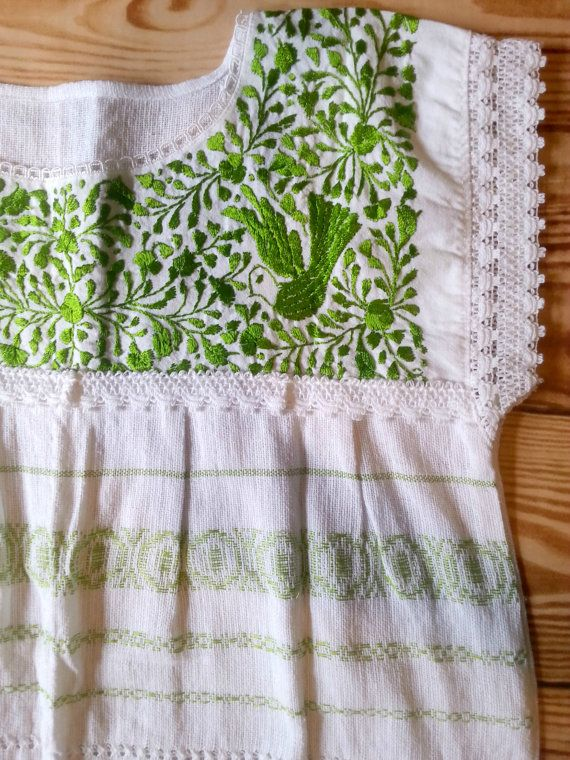 Green Mexican embroidered top traditional Oaxaca Huipil woven blouse ...