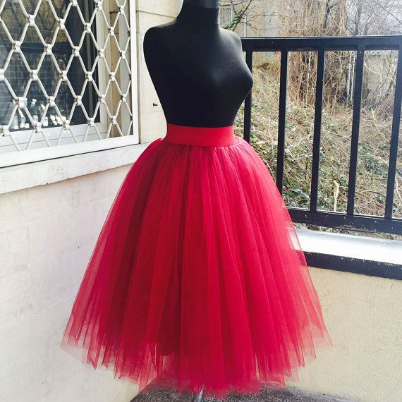 dc28f8db Tulle Skirt Woman, Adult Tutu Skirt, Red Tulle Skirt, Red Tutu Skirt ...