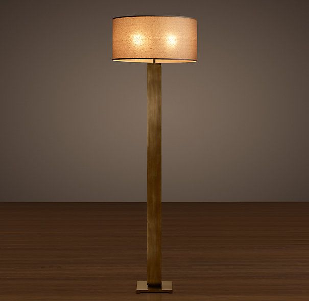 Square Column Floor Lamp Vintage Brass Restoration Hardware - Restoration hardware floor lamps