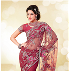 Designer Party Wear Net Saree - Stunning Party Wear Designer Net Saree beautified with embroidery & patch border