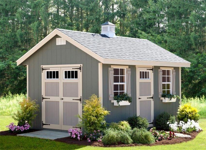 Amish 10x14 Riverside Quick Ship Shed Kit In 2020 Outdoor Garden Sheds Backyard Sheds Outdoor Sheds