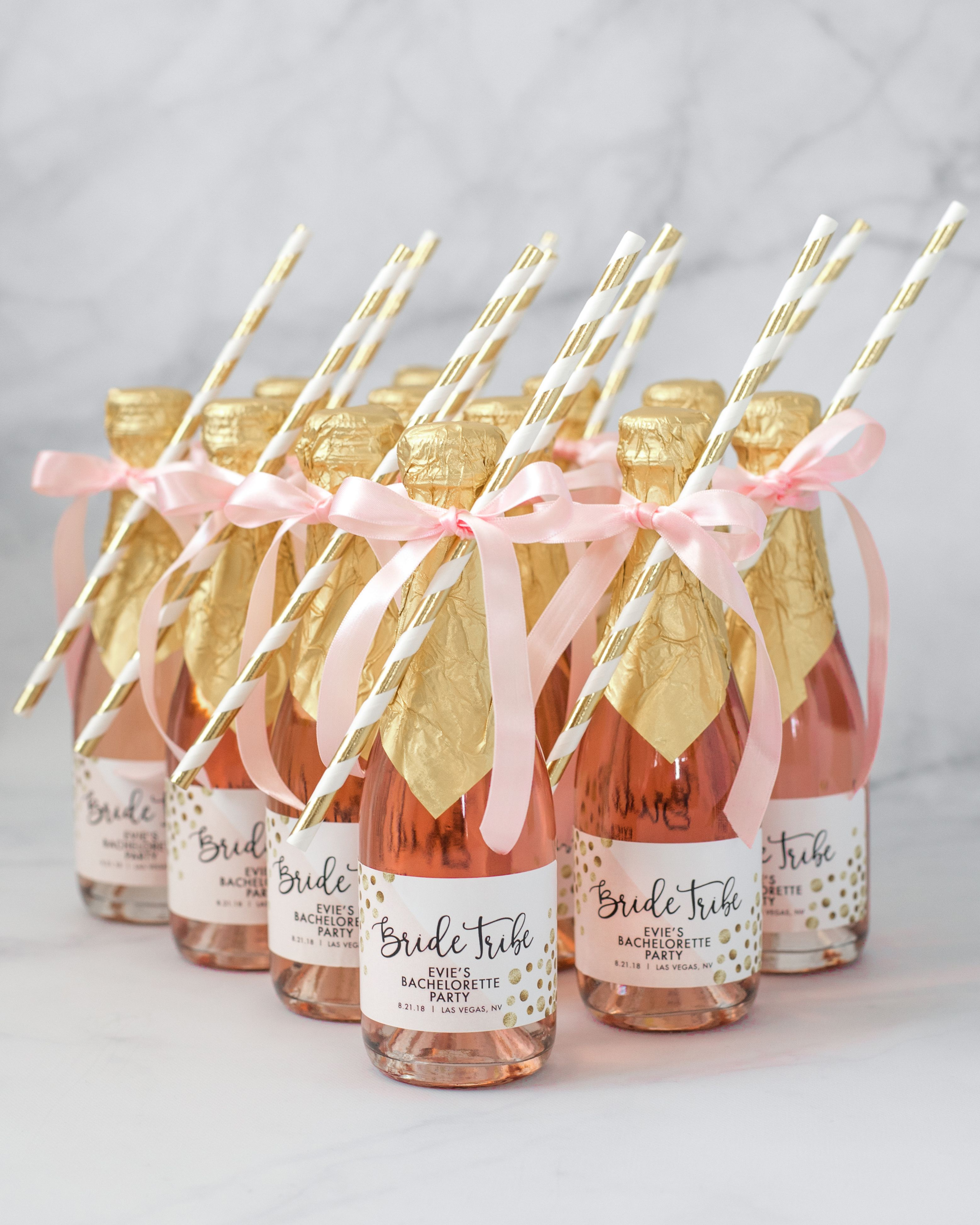 """""""Evie"""" Gold Glitter + Pink Bachelorette Party Champagne"""