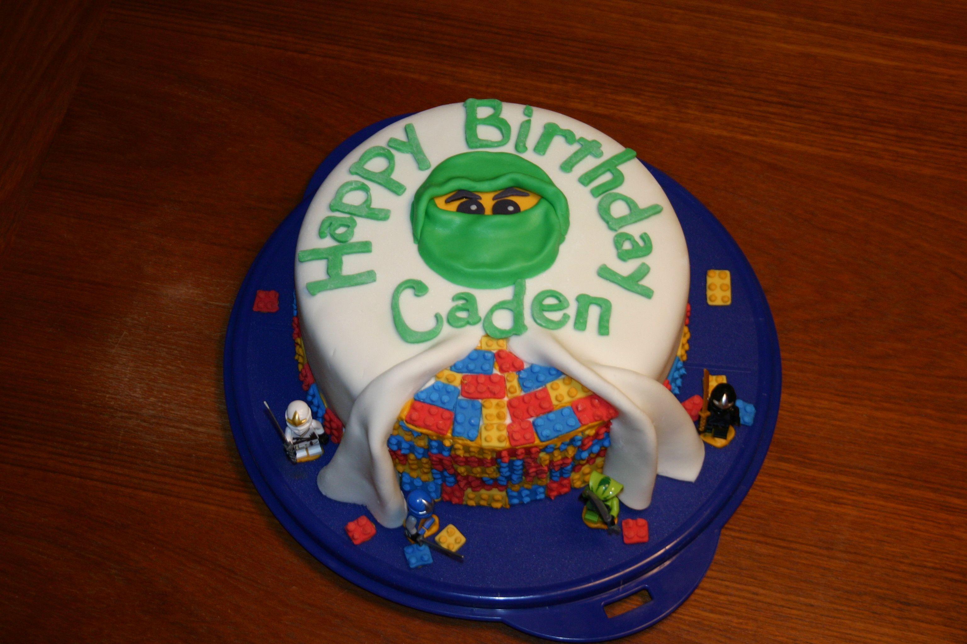 Lego Ninjago birthday cake  green fondant ninja | Jeni's
