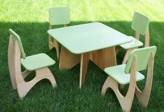 Modern Child Table Set 4 Chair Option Projects Wooden Table