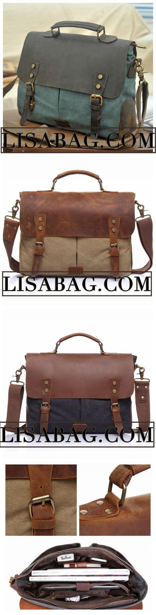 Handmade Blue Green Canvas Leather Briefcase Messenger Bag Shoulder Bag  Laptop Bag 1807 4f4721182b81c