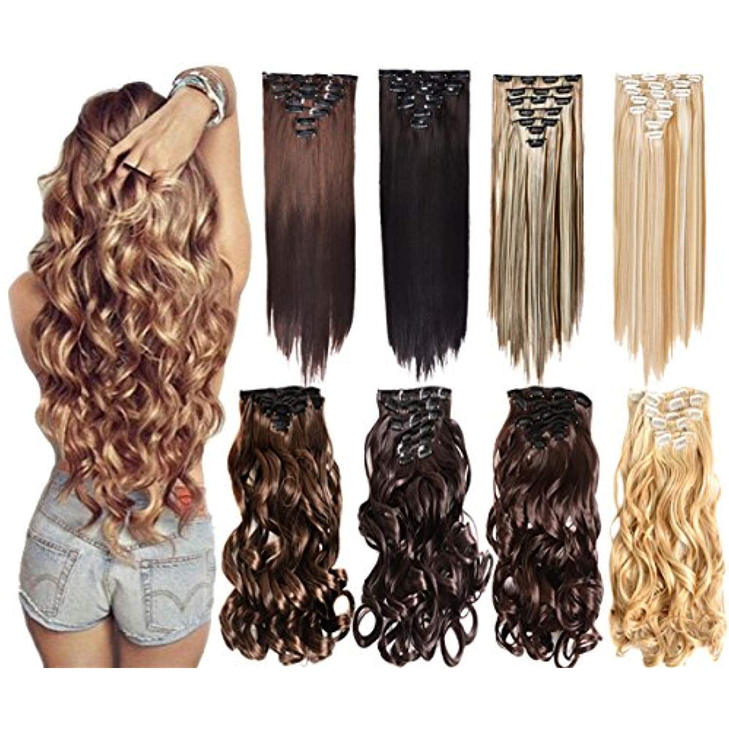7Pcs 16 Clips 2024 Inch Thick Double Weft Full Head Clip