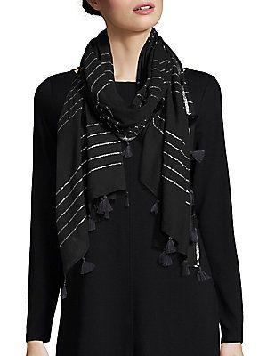 Eileen Fisher Metallic Striped Scarf - Black