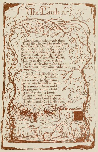 William Blake; Volume 1, Songs of Innocence - The Lamb.