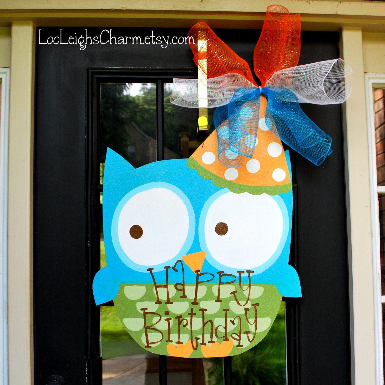 Classroom window decoration  Birthday Door Hanger Owl Birthday Door Decoration Owl Party