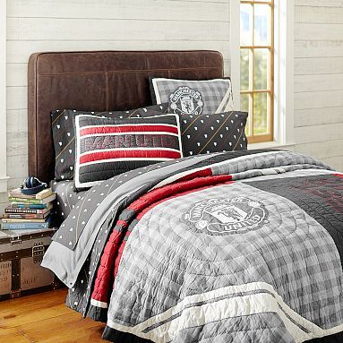 Manchester United Quilt Sham Leather Headboard Quilted Sham Football Bedroom