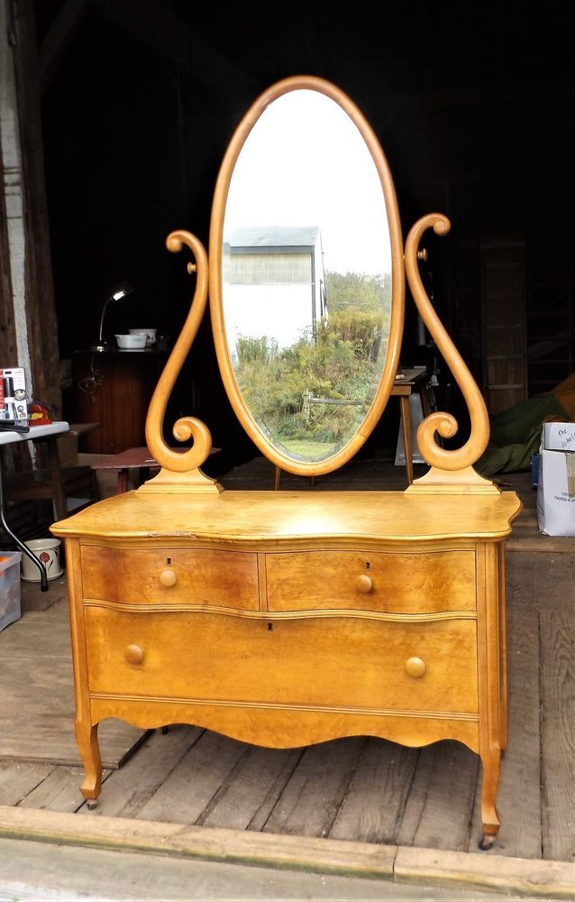Nothing looks quite like birdseye maple and this antique vanity dresser is  beautiful in birdseye. Made by the Atlas Furniture Co. of Jamestown  sometime ... - Vintage Birdseye Maple Vanity Dresser By Atlas Furniture Co In 2018